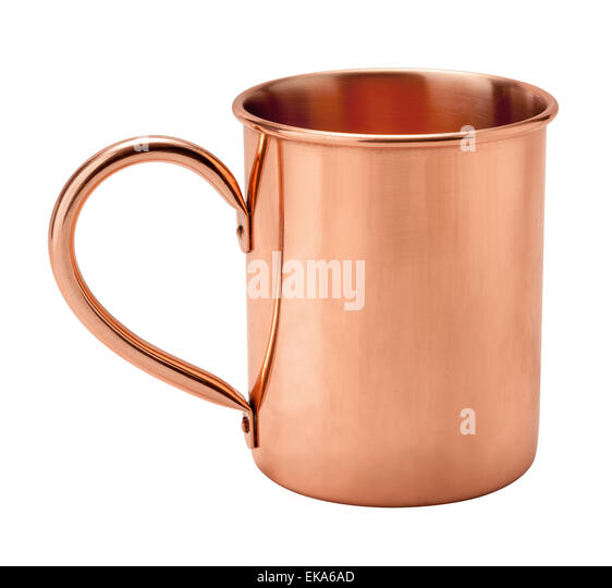 Vintage Copper Mug showing the handle. - Stock Image