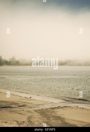 A foggy beach on the New England coast. - Stock-Bilder