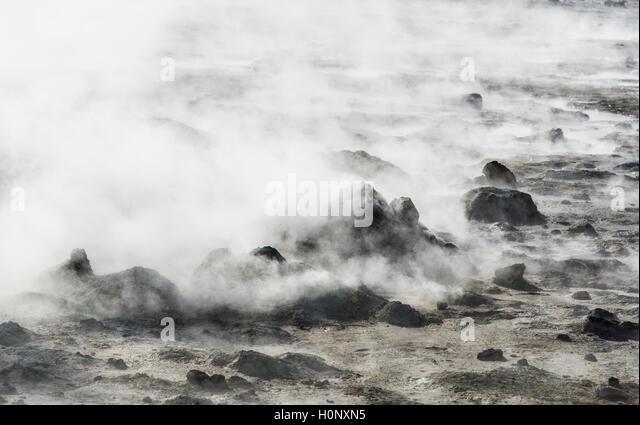 Steaming ground, geothermal area Hverarönd, Hverir or Namaskard, North Iceland, Iceland - Stock Image