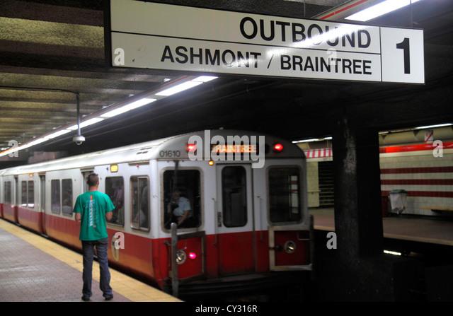 Boston Massachusetts South Boston Andrew Station MBTA T Red Line platform subway train Braintree sign outbound - Stock Image