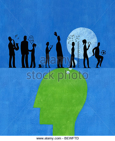 Person thinking about assorted role models - Stock Image