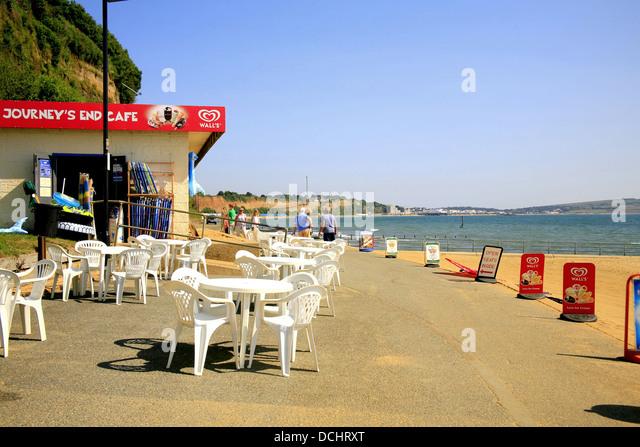 The Journey's end cafe on the Shanklin to Sandown coastal walk at Shanklin, Isle of Wight, England, UK. - Stock Image