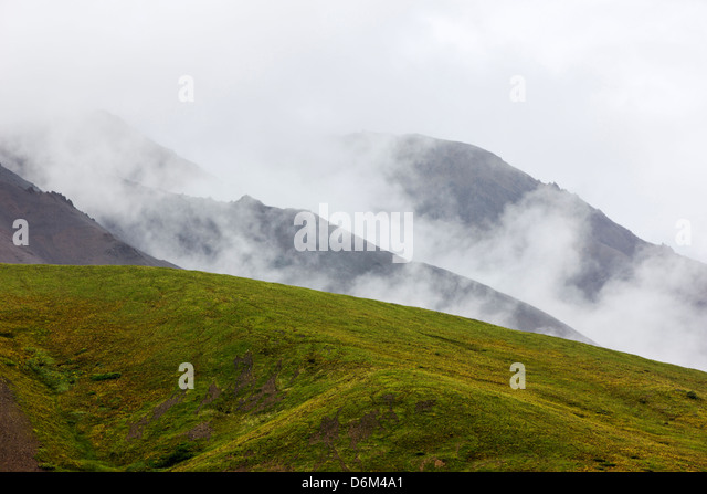 Misty foggy view south of the Alaska Range from Polychrome Pass, Denali National Park, Alaska, USA - Stock Image