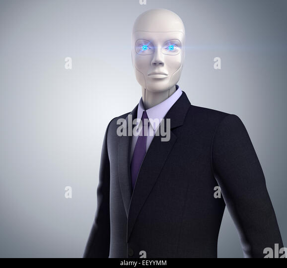 robot dressed in a business suit - Stock Image