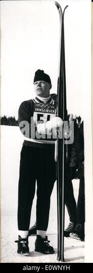 Jan. 01, 1964 - Veikko Kankkonen, Finland gold medal, special ski jumping. He is pictured after his furthest jump - Stock Image