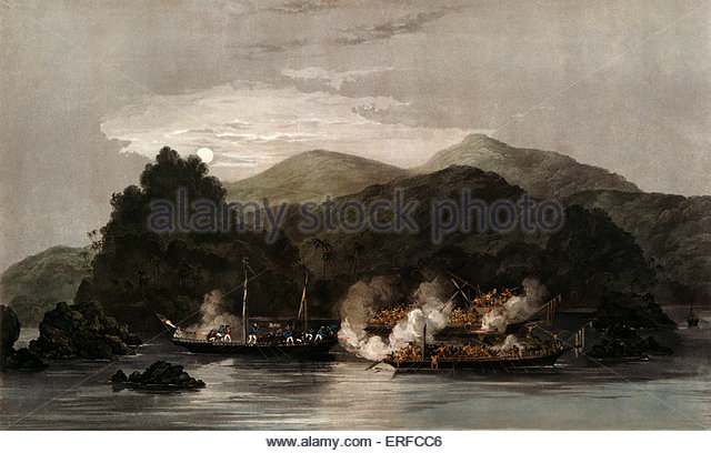 The Attack of Two Lanoon Pirate Proas on the Proa Jolly Bachelor. 'Belonging to Rajah Brooks of Sarawack and - Stock Image