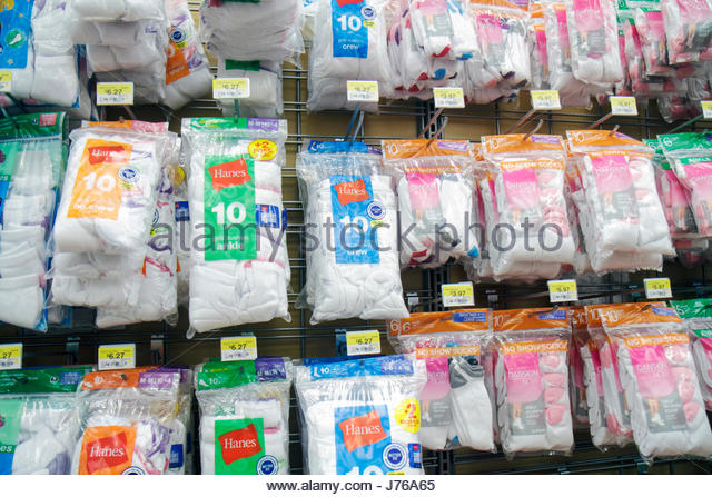 Miami Florida Walmart for sale packaging socks Hanes shopping - Stock Image
