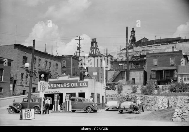 Gas Station,Butte,Montana,Arthur Rothstein for Farm Security Administration (FSA),July 1939 - Stock Image