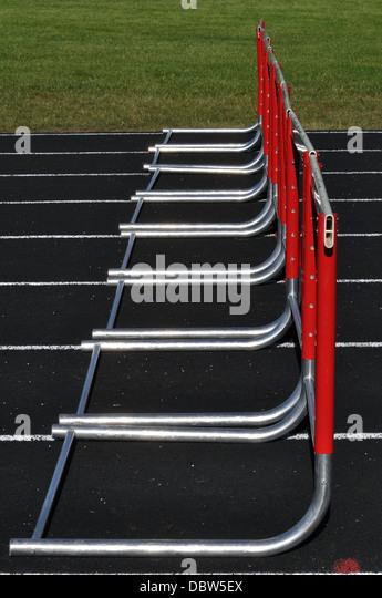 Athletics track and hurdles - Stock Image