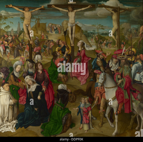 The Crucifixion (Triptych: Scenes from the Passion of Christ, central Panel), c. 1510. Artist: Master of Delft (active - Stock Image