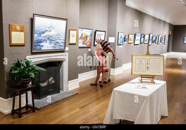 Manhattan New York City NYC NY Greenwich Village Salmagundi Art Club 1871 fine arts center Upper Gallery exhibition - Stock Image