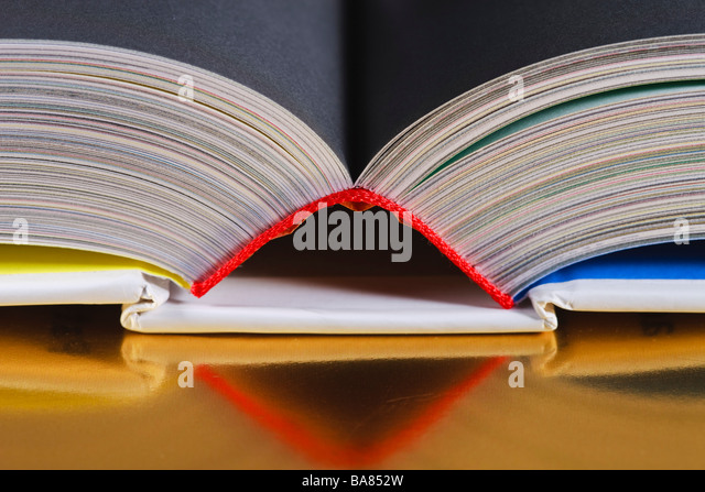 Top of an open book - Stock Image
