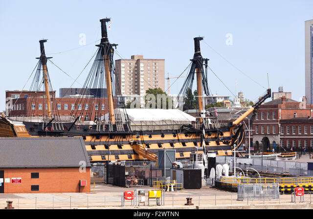 HMS Victory ( Lord Nelson's flagship at the Battle of Trafalgar in 1805) in Portsmouth Historic Dockyard, Portsmouth, - Stock Image