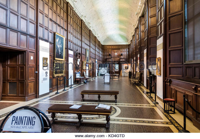 Washington DC District of Columbia Folger Shakespeare Library research library interior Great Hall exhibition paintings - Stock Image