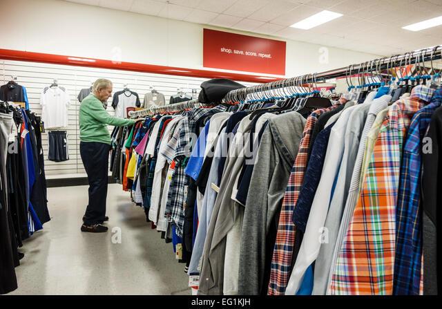 Vero Beach Florida TJ Maxx T.J. discount department store shopping clothing men's rack senior man looking - Stock Image