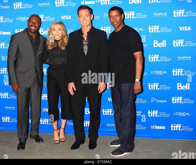 Toronto, Canada. 7th Sep, 2014. Director Antoine Fuqua, actress Chloe Grace Moretz, actor Marton Csokas and actor - Stock-Bilder