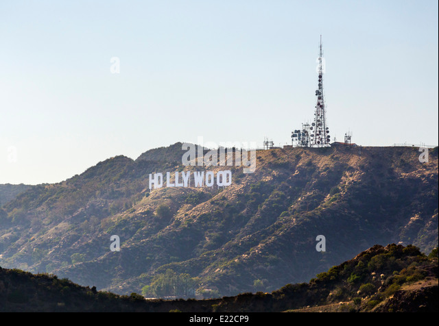 The Hollywood sign from Griffith Park, Mount Hollywood, Los Angeles, California, USA - Stock Image