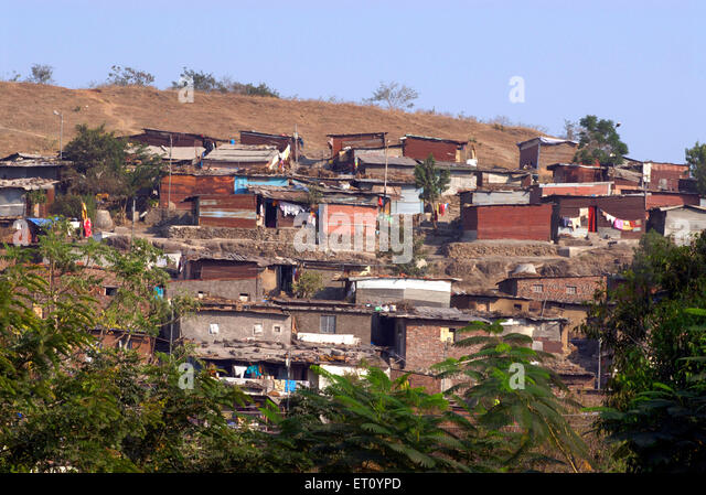 Slum over Parvati hill ; Pune ; Maharashtra ; India - Stock Image