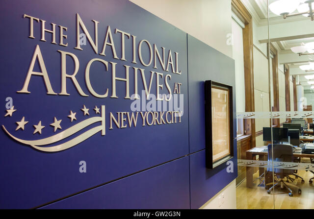 New York New York City NYC Lower Manhattan Financial District National Archives research historical records - Stock Image