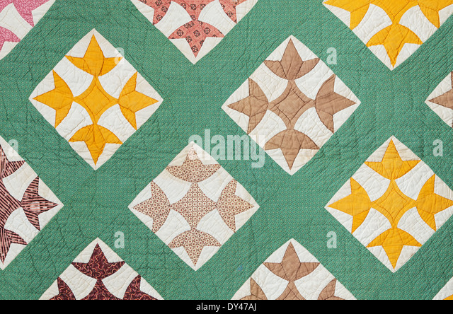 antique hand made quilt from the eastern US made in the late 1800s - Stock-Bilder