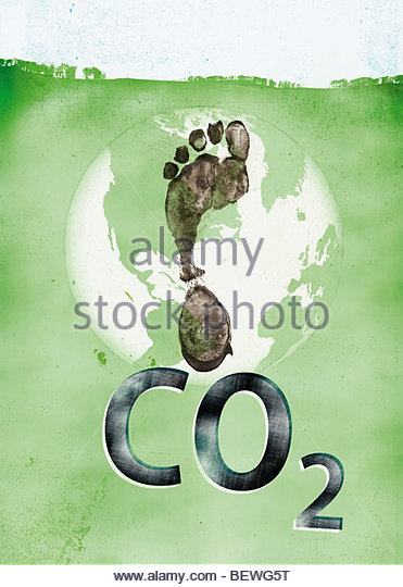 Carbon footprint on globe - Stock Image