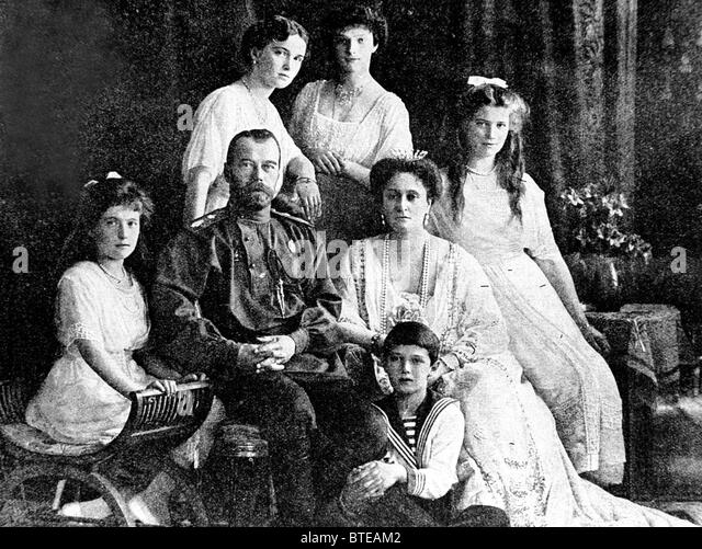 File picture shows Russian Emperor Nicholas II,Empress Alexandra Fyodorovna,their four daughters and son Alexei - Stock Image