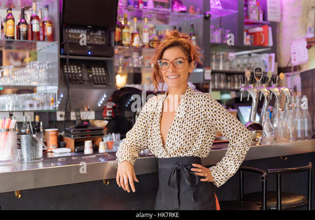 Entrepreneur and owner of a cafe in Paris - Stock-Bilder