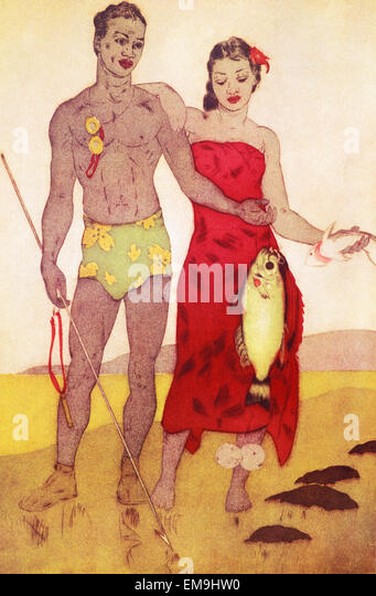Archival Illustration, Native Hawaiian Man And Woman Stand Together Holding Freshly Caught Fish, John Kelly Painting. - Stock Image