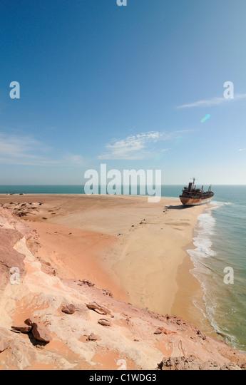 Mauritania, Nouadhibou, Stranded cargo boat on shore of Cap Blanc - Stock Image