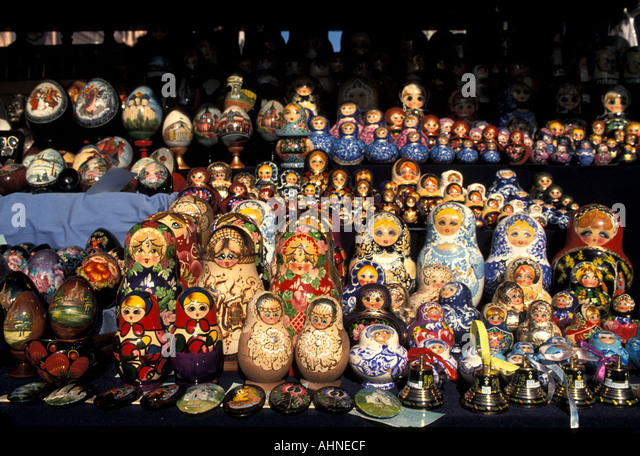Moscow Russia Shopping Russian Dolls - Stock Image