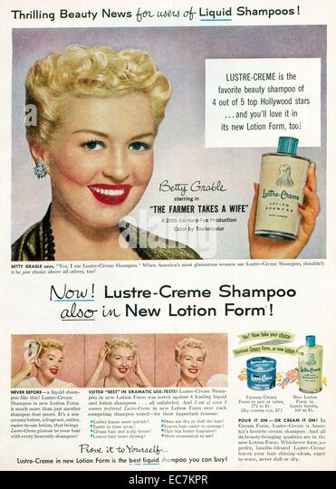 American actress Betty Grable in a 1940's advert for shapoo - Stock Image