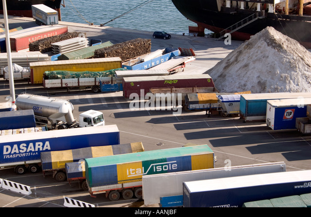 Shipment of salt at Cagliari Dockside, Sardinia, - Stock Image