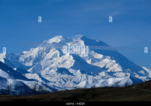 Alaska Mount McKinley on a clear day with blue sky Denali National Park - Stock Image