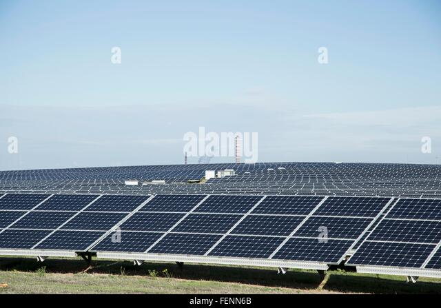 Field of solar panels, Costa Smeralda, Sardinia, Italy - Stock Image