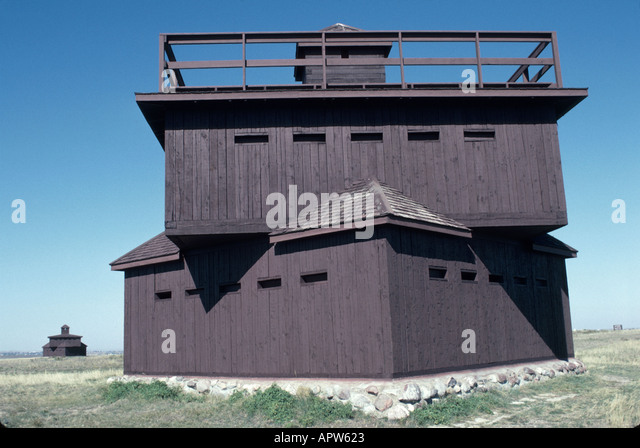 North Dakota Upper Midwest Great Plains State Fort Lincoln State Park military block house - Stock Image