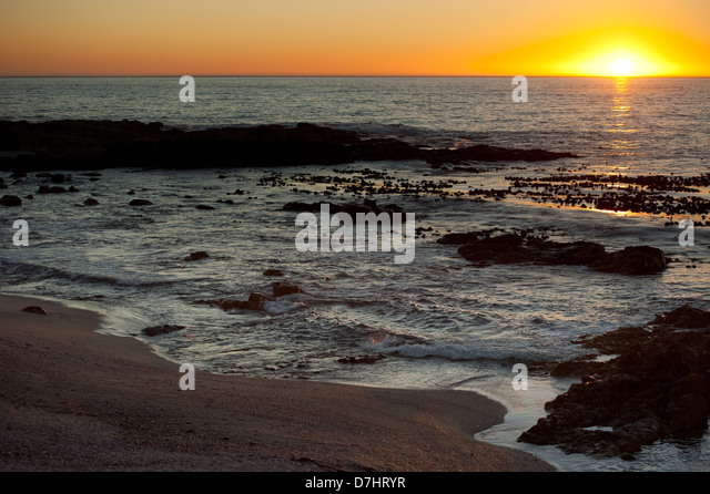 Sunset, Sea Point, Cape Town, South Africa - Stock Image