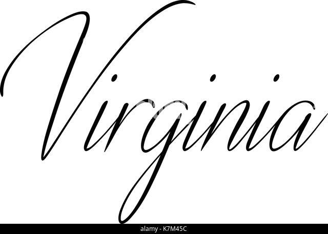 Virginia text sign illustrationon white background - Stock Image