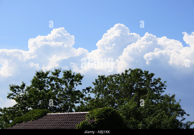 Storm clouds gathering against a blue sky. Photo by Willy Matheisl - Stock Image