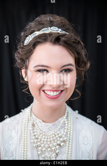 Portrait of Neo-Victorian female model - Stock Image