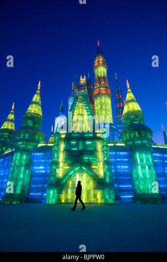An ice sculpture at the Snow and Ice Sculpture Festival Harbin, Heilongjiang China 2009 - Stock Image