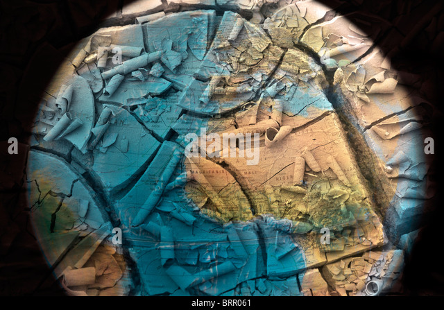 The world cracking up through drying out Concept for desertification Water shortages Climate change Crisis - Stock Image