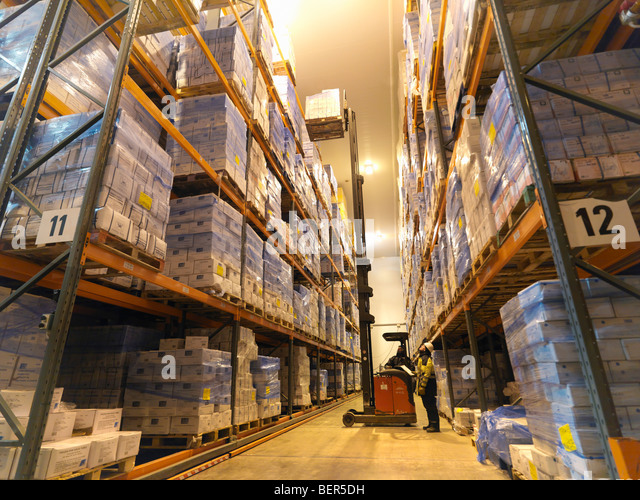 Food Being Stored In Warehouse - Stock Image