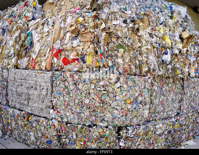 Crushed and packed pop cans for recycle, ready for shipping to recycling facilities - Stock Image