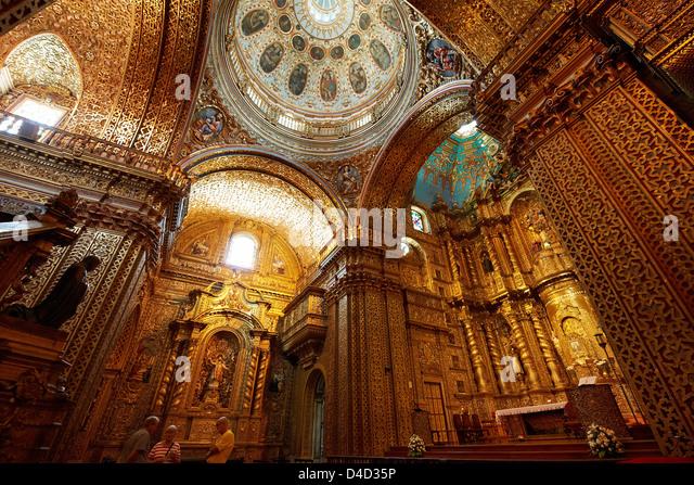 Iglesia de la Compania de Jesus, Quito, Ecuador, South America, America - Stock Image
