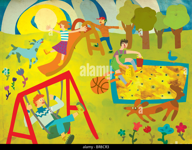 Children playing on a playground with their dogs - Stock-Bilder