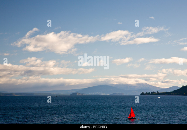 Lake Taupo from Taupo North Island New Zealand - Stock Image