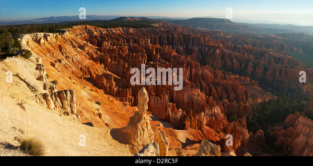 Panoramic photo of sunrise from Inspiration Point, Bryce Canyon National Park, Utah, United States of America, North - Stock Image
