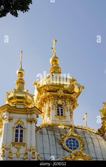 Peterhof Palace gilded  domes church of the Grand Palace located near Saint Petersburg, Russia - Stock Image