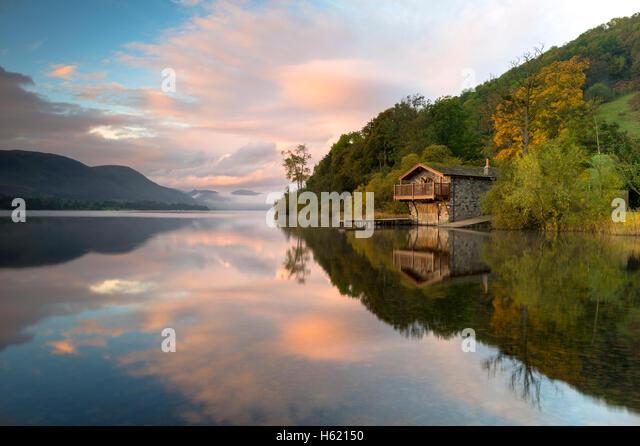 Sunrise at Pooley Bridge Boathouse, Ullswater, Lake District, Cumbria, UK - Stock Image