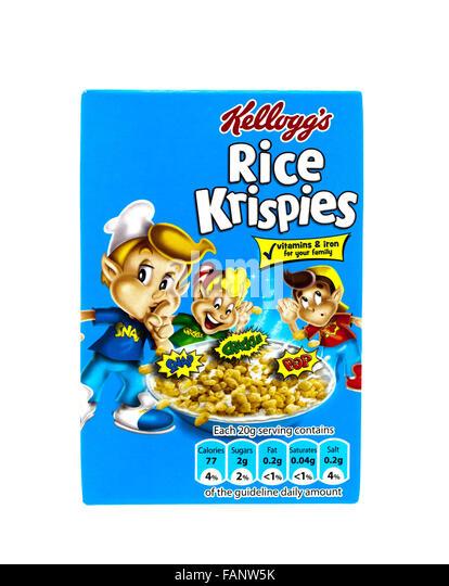 Kelloggs rice krispies on a white background stock image